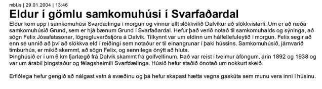 Morgunblaðsfrétt um ömurleg örlög Þinghússins.