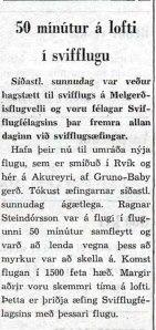 Frétt í Degi 8. nóvember 1950. Það þótti tíðindum sæta að aðstæður til svifflugs á Melgerðismelum væru svona  hagstæðar í nóvembermánuði!