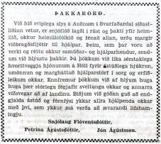 Þakkarávarp Auðnafólks, birt i Tímanum 21. nóvember 1953.