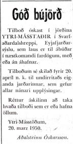 Auglýsingin sem varð til þess að Ester og Helgi keyptu Másstaði.