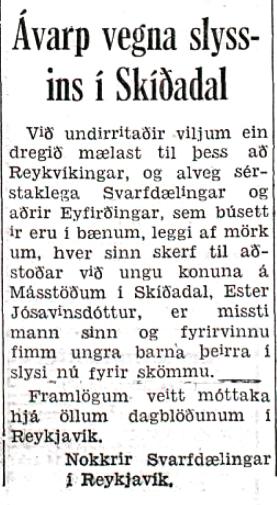 Ákall sem birtist í Tímanum 22. nóvember 1955.