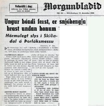 Baksíða Morgunblaðsins 28. desember 1955.