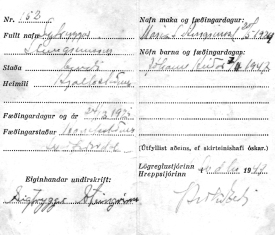 Nafnskírteini Guðjóns á Hjaltastöðum, undirritað af hreppstjóranum á Tjörn, Þórarni Kr. Eldjárn árið 1947.