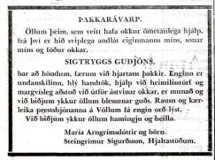 Þakkarávarp birtist í Degi 18. janúar 1956.