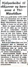 Hjálparbeiðni frá Rauða krossinum birtist í dagblöðunum í Reykjavík og í blöðum á Akureyri í nóvember 1955.