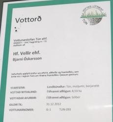Vottun um lífræna framleiðslu á Völlum.