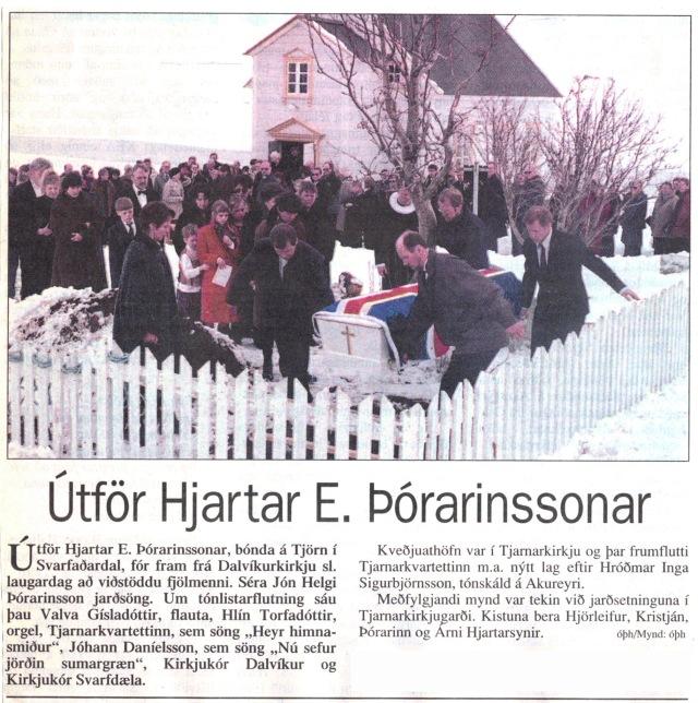 9_6. apríl.1996. Útför Hjartar á Tjörn